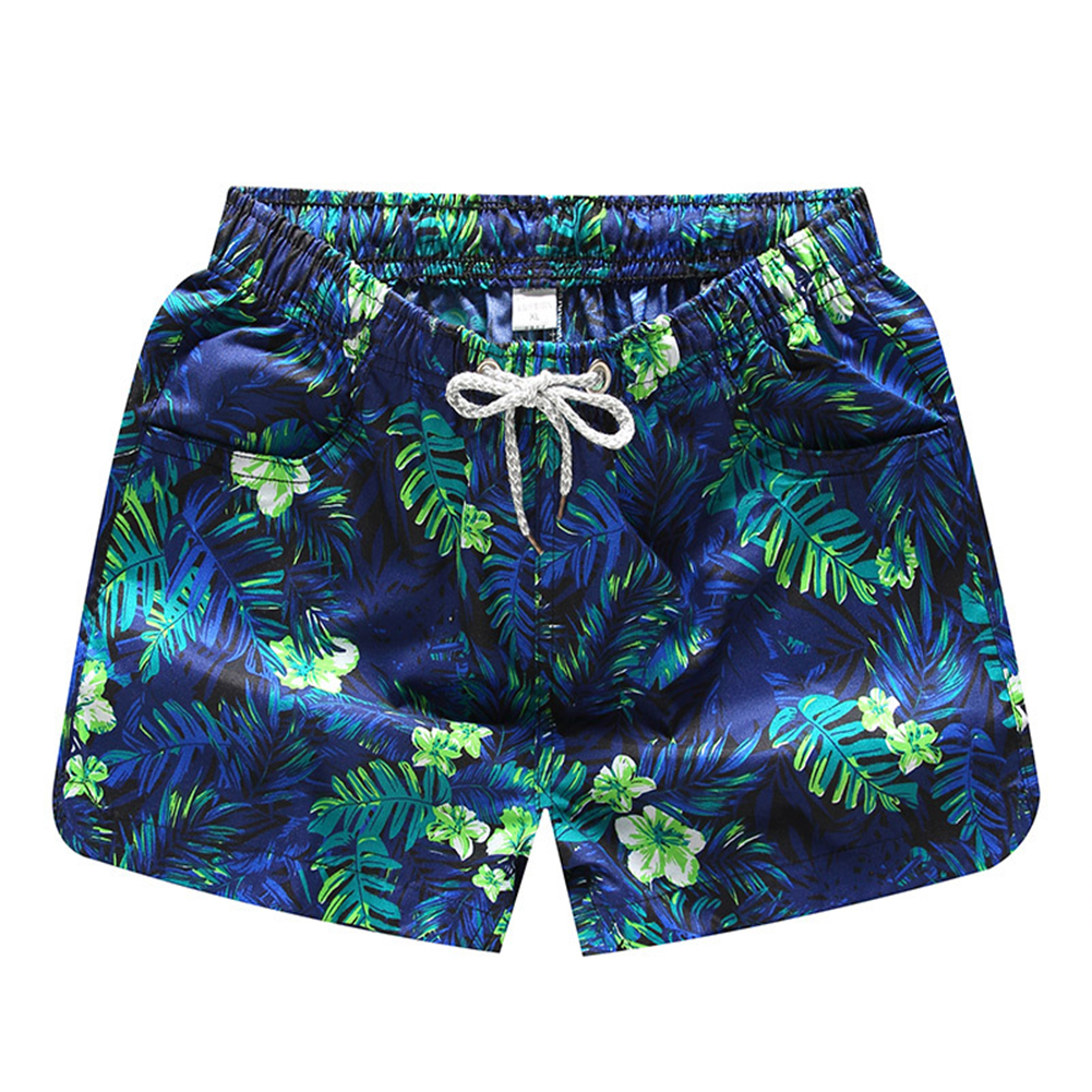 Men Casual Quick-drying Green Leaf Printing Beach Shorts Green leaf female_L