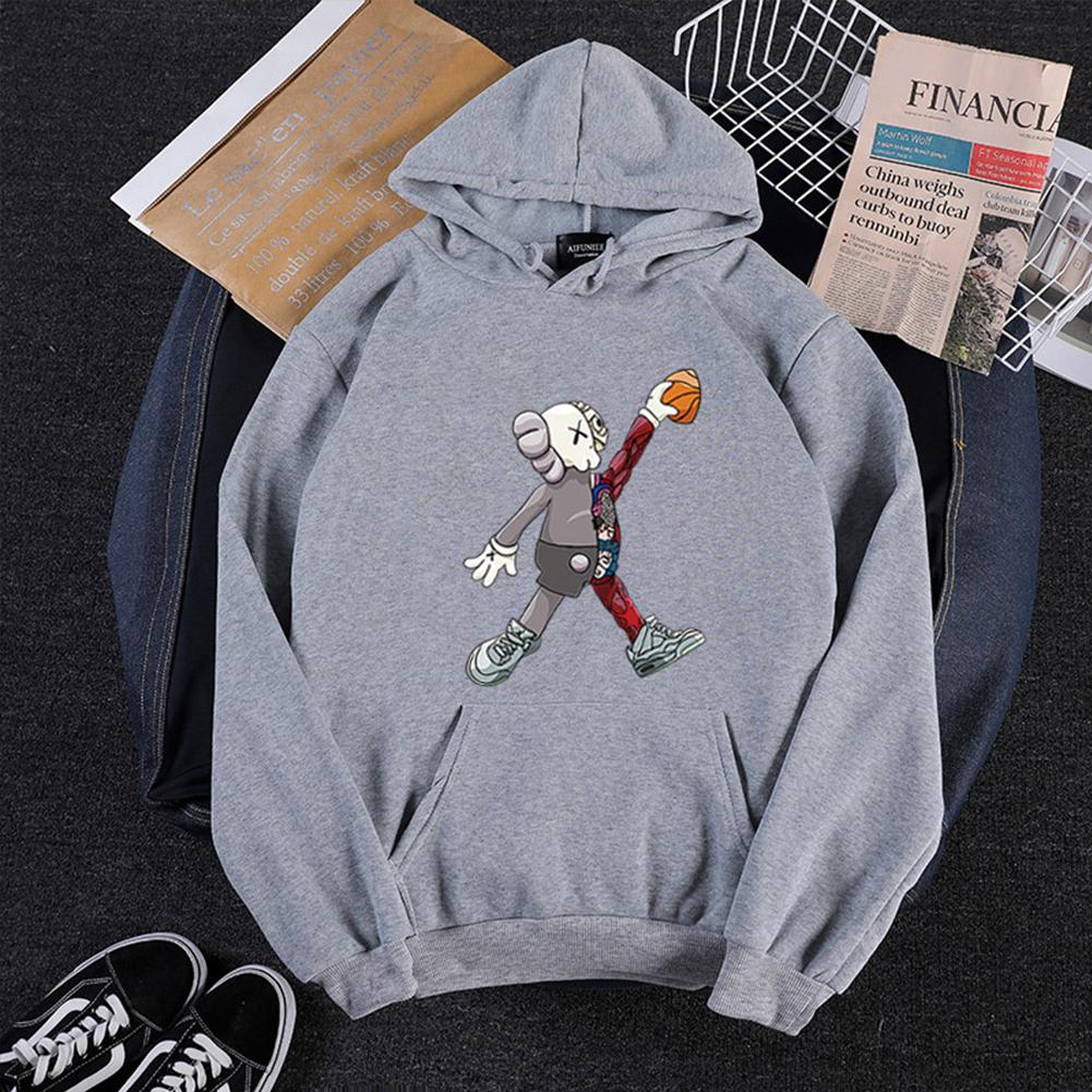KAWS Men Women Hoodie Sweatshirt Walking Doll Cartoon Thicken Autumn Winter Loose Pullover Gray_L