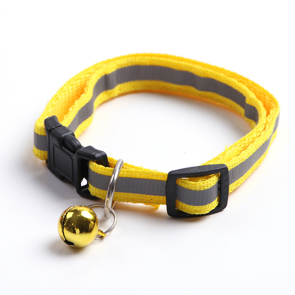 Adjustable Pet Nylon Collar Reflective Stripe with Bell for Dog Cats Yellow_1.0