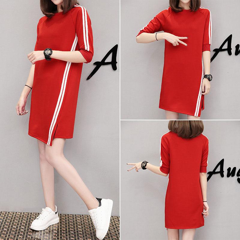 Women Casual Summer Half-length Sleeves Casual Asymmetric Long Dress red_L