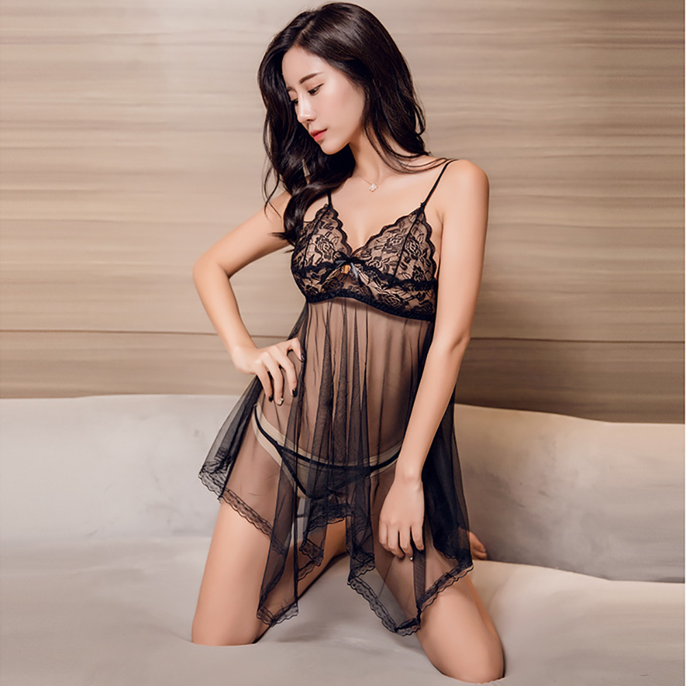 Women Lace Sling Nightdress + Briefs See-through Sexy Temptation Erotic Lingerie Underwear Black_One size