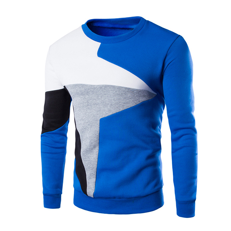 Men Fashion Chic Hit Color Long Sleeve Sweater Simple Casual Sweatshirt Pullover blue_L