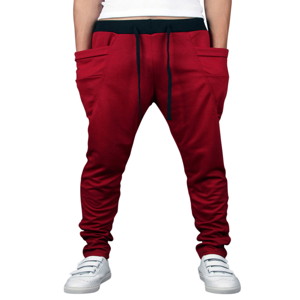 Men Solid Color Middle Waist Casual Harem Pants Wine red_L(30-31)