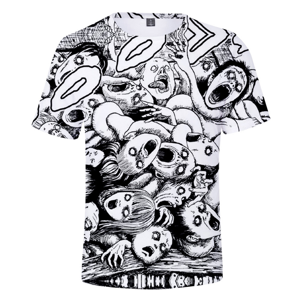 Short Sleeves 3D Pattern Printed Shirt Leisure Loose Pullover Top for Man and Woman O style_XL