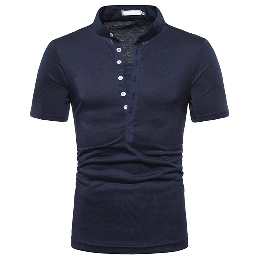 Fashion Men Slim Fit V Neck Short Sleeve Muscle Tee T-shirt  blue_XL
