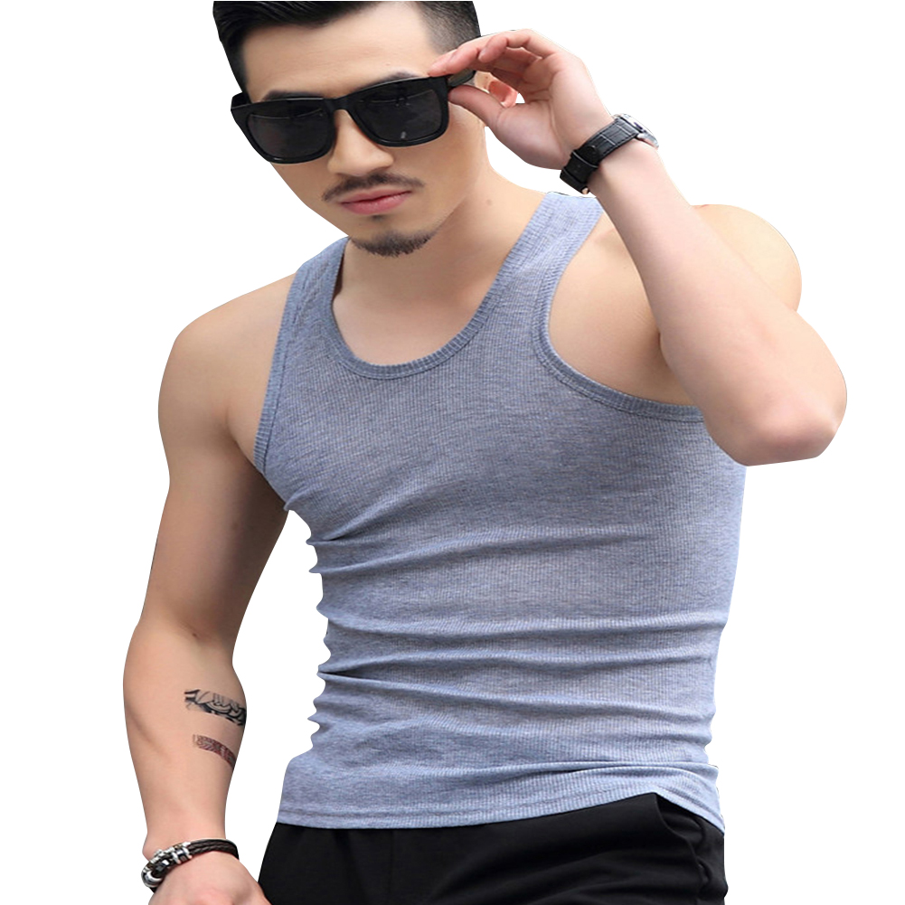 Men Fashion Summer Solid Color Sleeveless Vest Shirt for Gym Fitness Sports gray_L