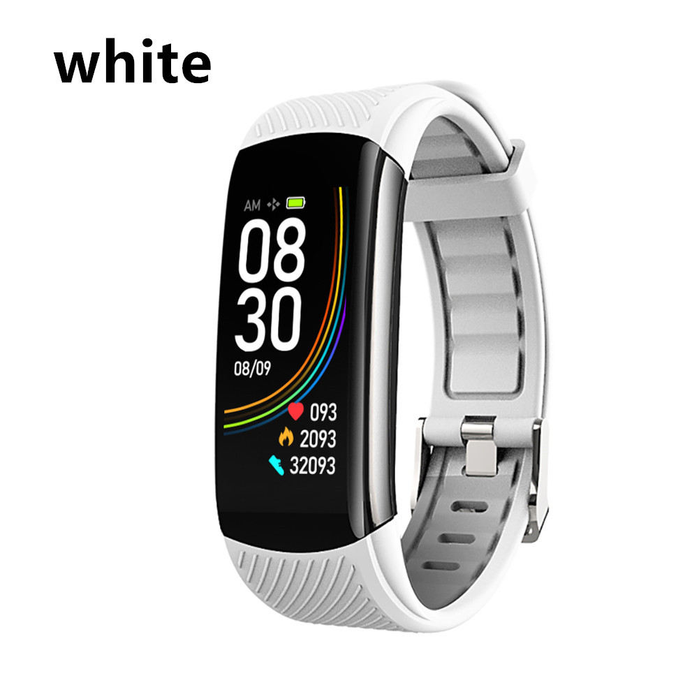 Smart Bluetooth Bracelet Temperature Measure ECG Heart Rate Blood Pressure Sleep Exercise Watch Band white