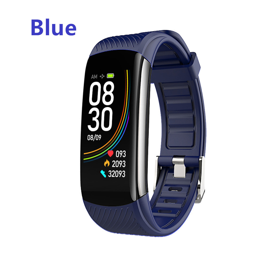 Smart Bluetooth Bracelet Temperature Measure ECG Heart Rate Blood Pressure Sleep Exercise Watch Band blue