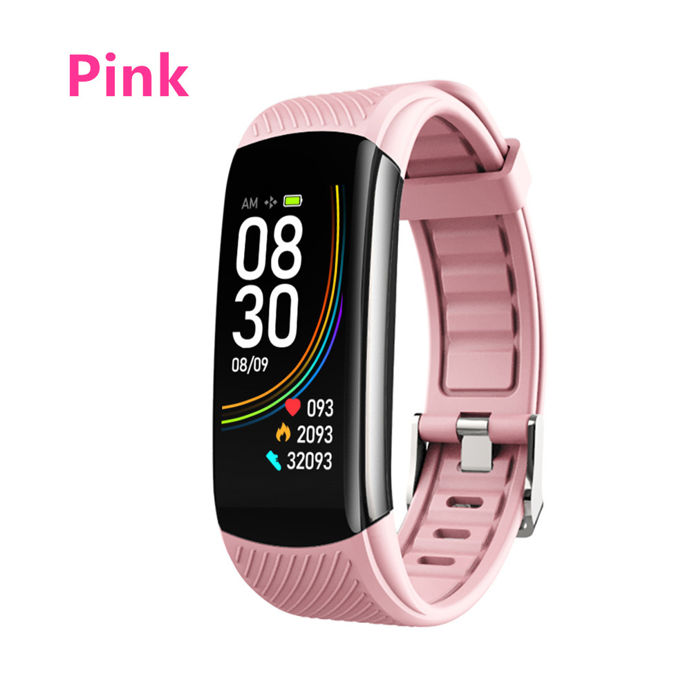 Smart Bluetooth Bracelet Temperature Measure ECG Heart Rate Blood Pressure Sleep Exercise Watch Band Pink
