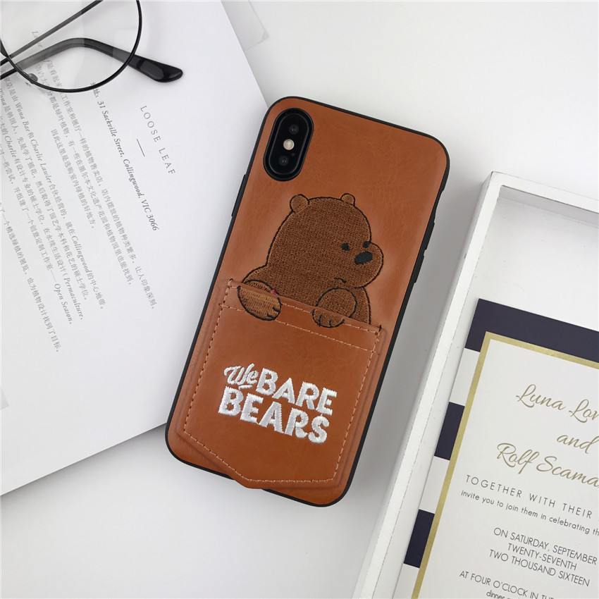 Cute Cartoon Bear Embroidery Leather Phone Case with Card Pocket for iPhone