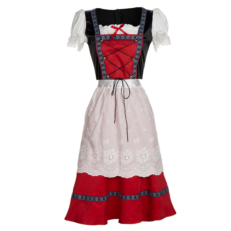 Women Oktoberfest Retro Red Midi Dress Bavarian Traditional Dirndl Costume