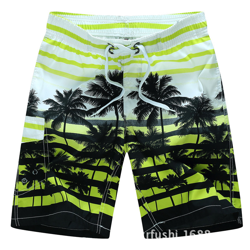 Male Beach Shorts Quick Dry Pants with Strips and Coconut Tree Printed Vacation Wear yellow_XXL