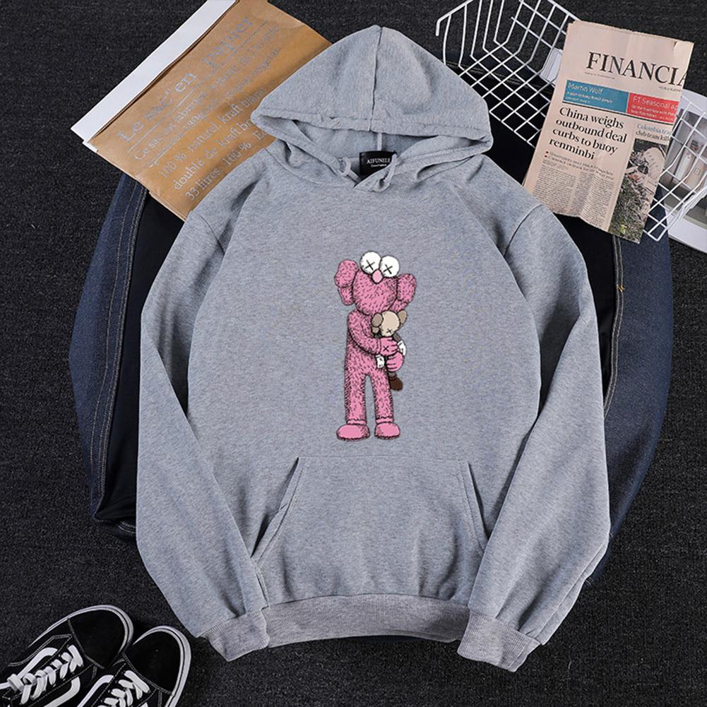 KAWS Men Women Cartoon Hoodie Sweatshirt Holding Doll Thicken Autumn Winter Loose Pullover Gray_XXXL