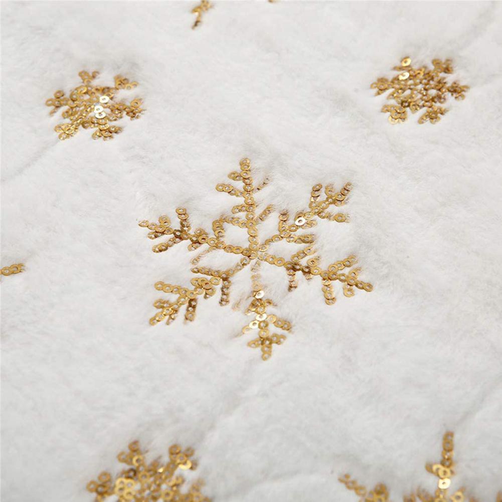 Christmas Table  Runner Plush European Style Restaurant Family Table Decoration Tablecloth Gold glitter snowflake on white