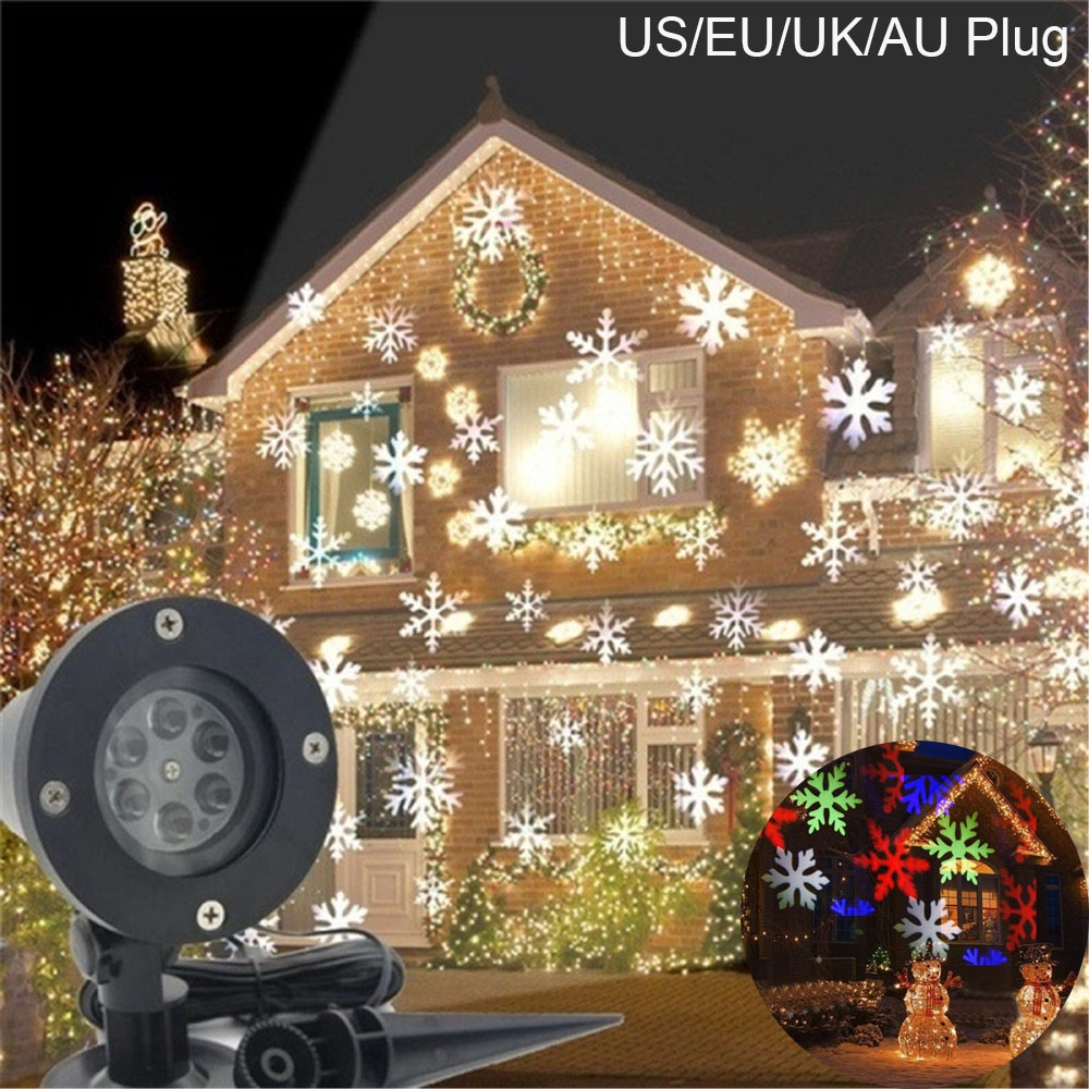 LED Christmas Light Outdoor Waterproof Snowflower Projection Lamp for Lawn Stage European regulation colors light