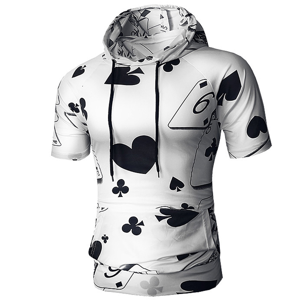 Men Spring And Autumn Playing Card Printing Simple Fashion Short Sleeve Hooded Shirt T-shirt black_XL