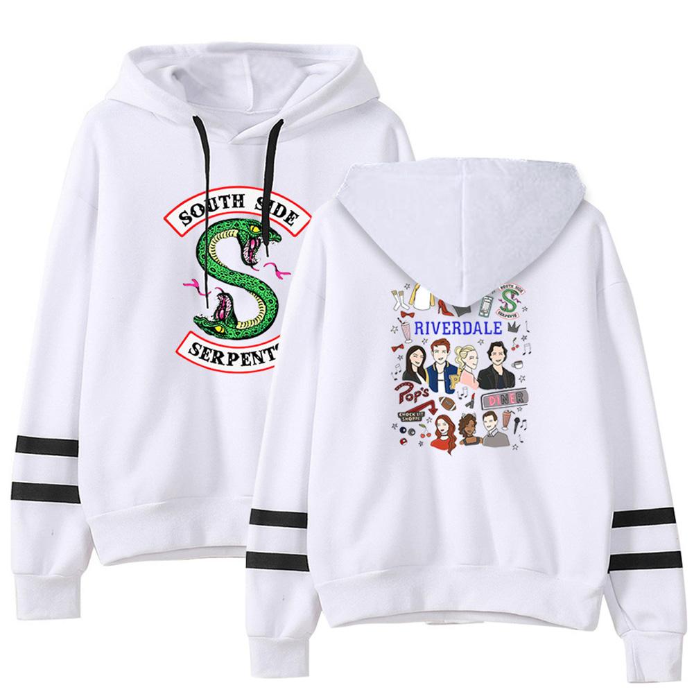 Men Women American Drama Riverdale Fleece Lined Thickening Hooded Sweater White E_XL