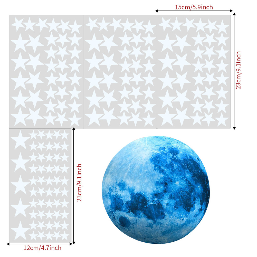 30cm Blue Moon 435pcs Blue Luminous Moon Star Sticker 166pcs Star Decal Decoration 166pcs