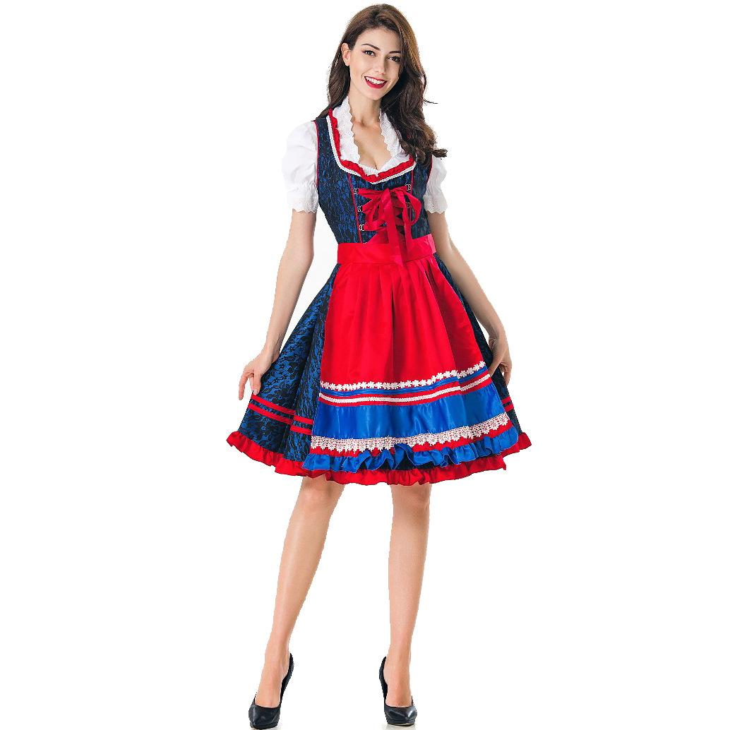Women Oktoberfest Bavarian Style Dirndl White Shirt+Dress+Apron Set Dark blue_L