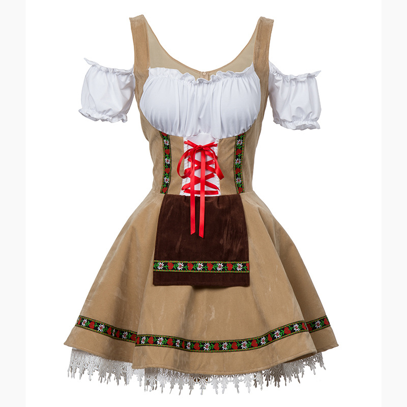 Women Oktoberfest Style Off-shoulder Dress Halloween Party Costume Waitresses Uniform Khaki_3XL/4XL