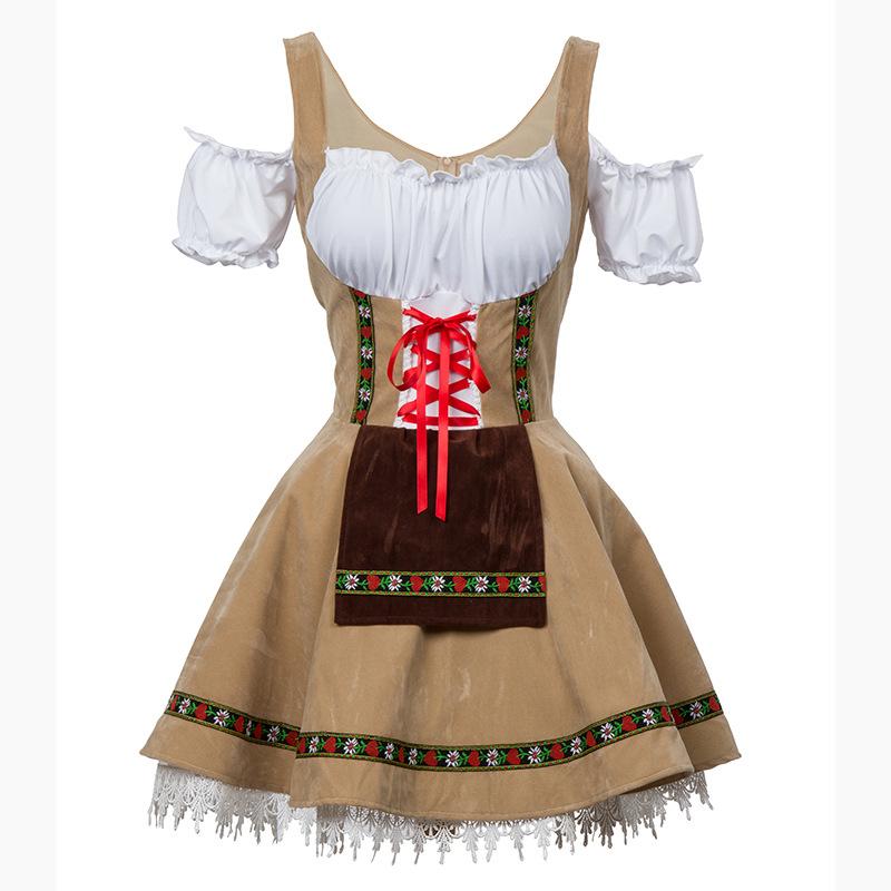 Women Oktoberfest Style Off-shoulder Dress Halloween Party Costume Waitresses Uniform Khaki_S/M