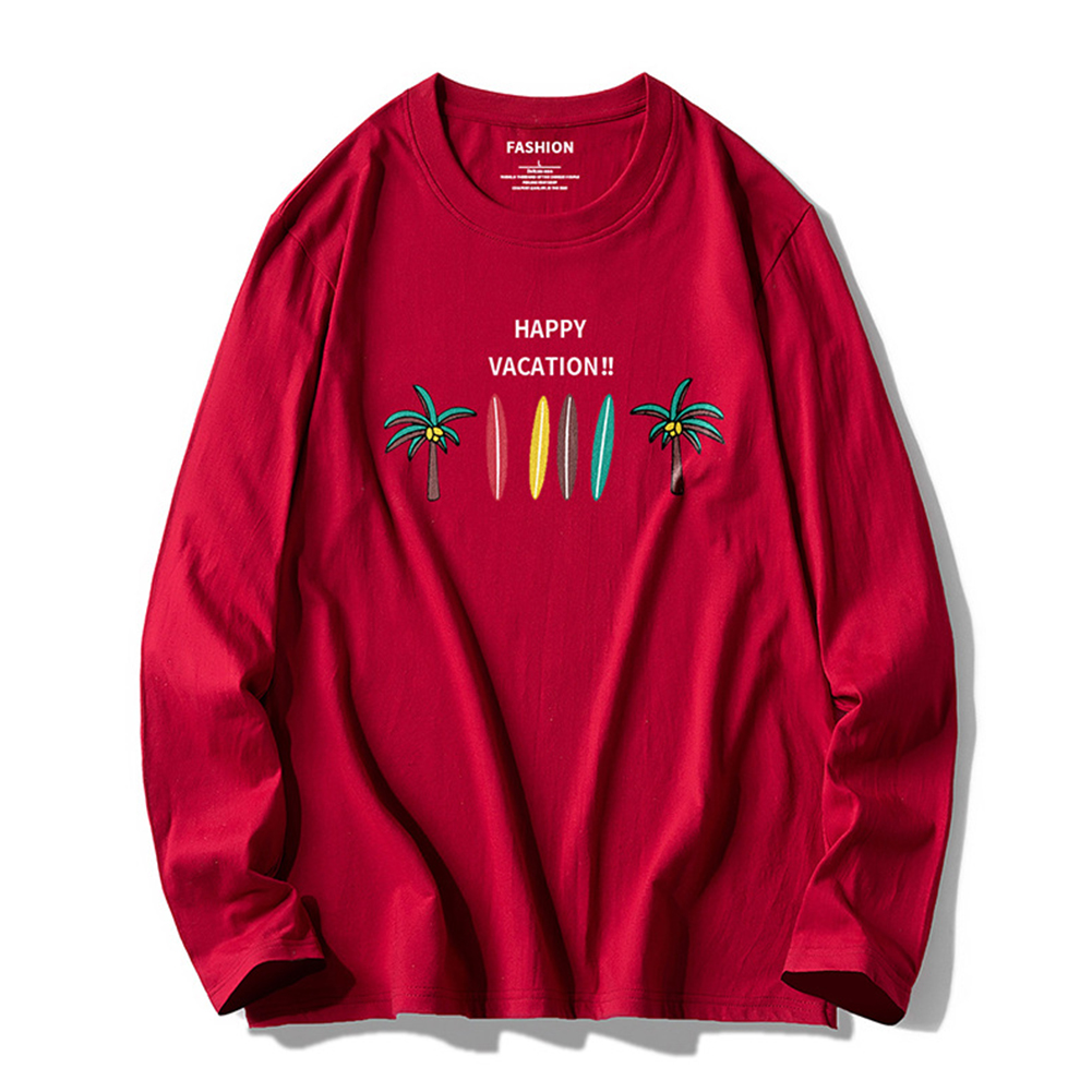 Men Autumn And Winter Long-sleeved Round Neck Sweat Absorption Printed Cotton T-shirt Bottoming Shirt red_XL