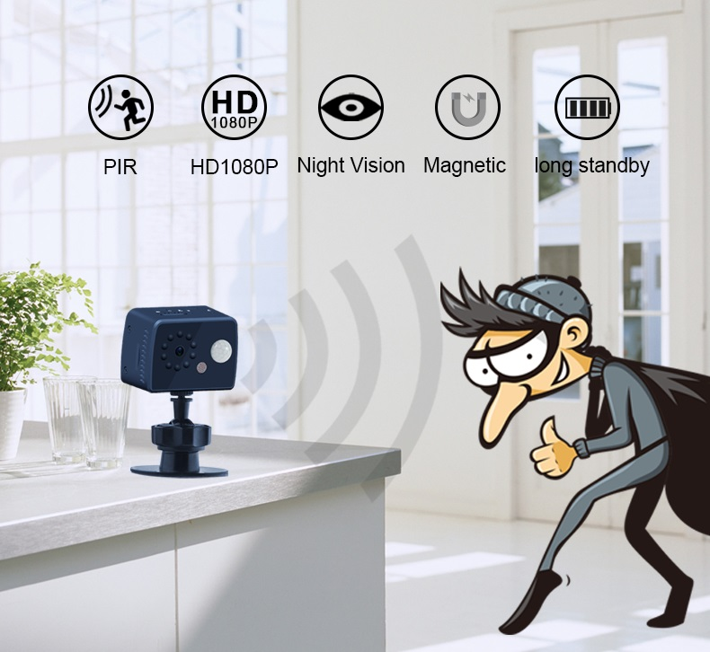 Intelligent Human Body Induction Camera 1080P HD Wireless Camera Night Vision Infrared Indoor Home Security  black