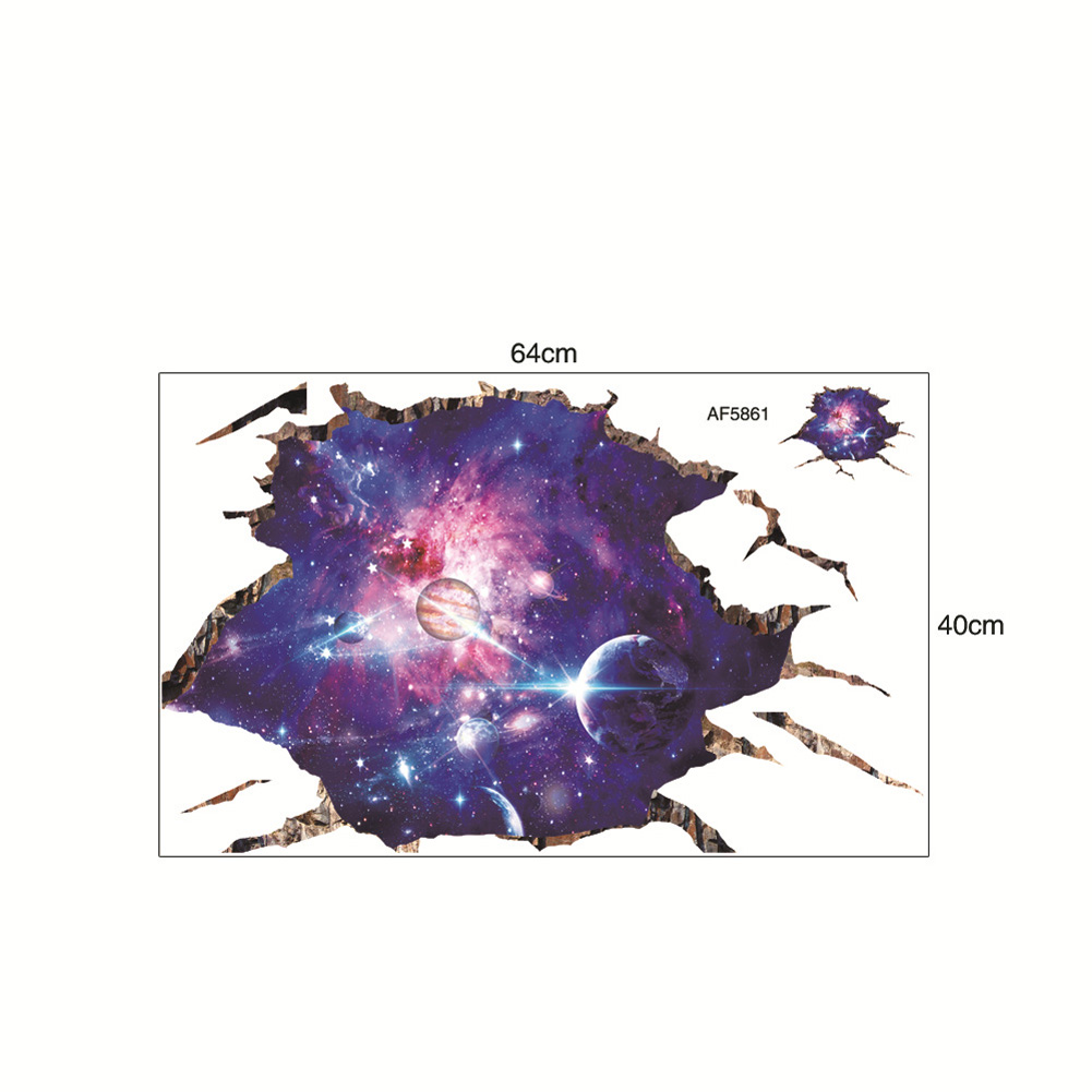 3D Cosmic Galaxy Planets Wall Stickers Poster for Kids Room Baby Bedroom Ceiling Decoration AF5861 40X64cm