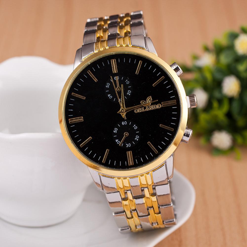 Men Fashion Stainless Steel Belt Watches Concise Business Style Quartz Watch  black