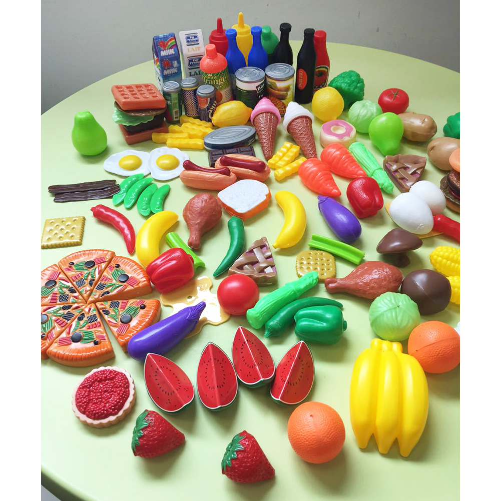 120 Pcs Plastic Food Fruits Vegetables Toy Set Kitchen Pretend Play Toy for Boys and Girls