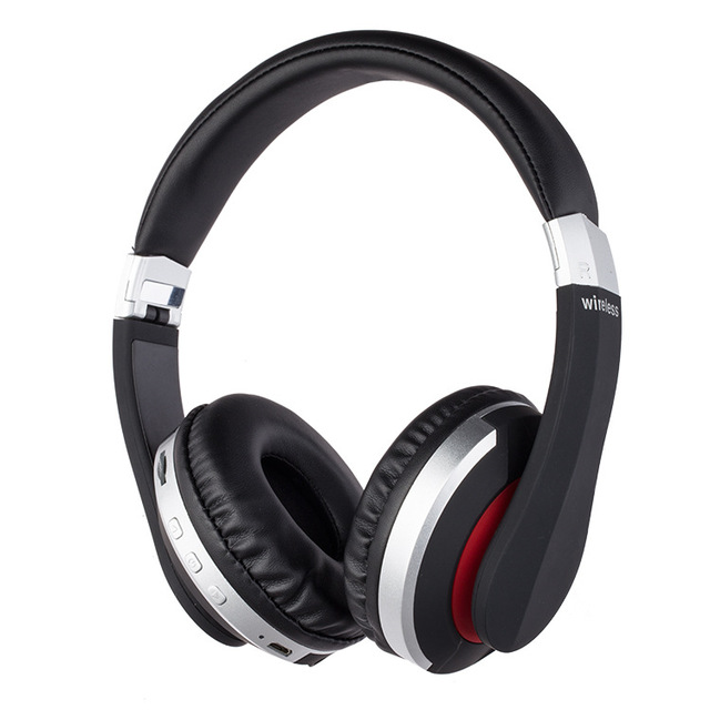 Wireless Headphones Bluetooth Headset Foldable Stereo Gaming Earphones with Microphone Support TF Card for IPad Mobile Phone Silver