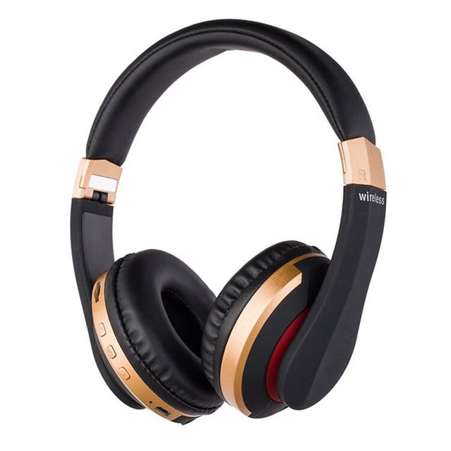 Wireless Headphones Bluetooth Headset Foldable Stereo Gaming Earphones with Microphone Support TF Card for IPad Mobile Phone Gold