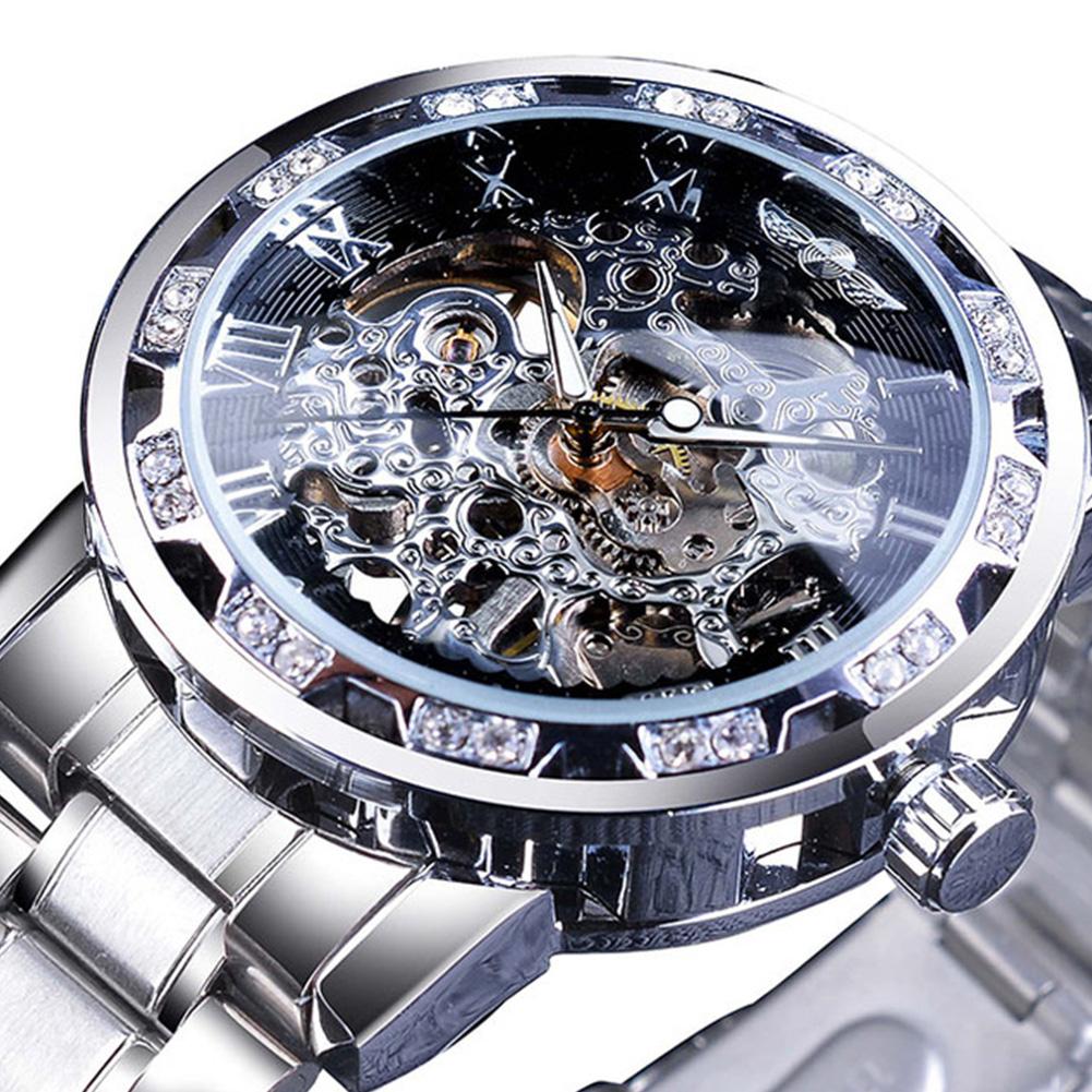 Winner Man Waterproof Mechanical Watch Roman Numeral Rhinestone Skeleton Dial Steel Wristwatch Black silver