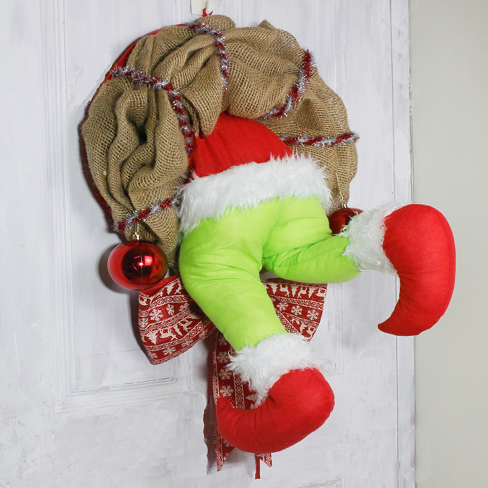 Christmas Garland How the Christmas thief Stole Christmas BurlapWreath Window Wall Decor S