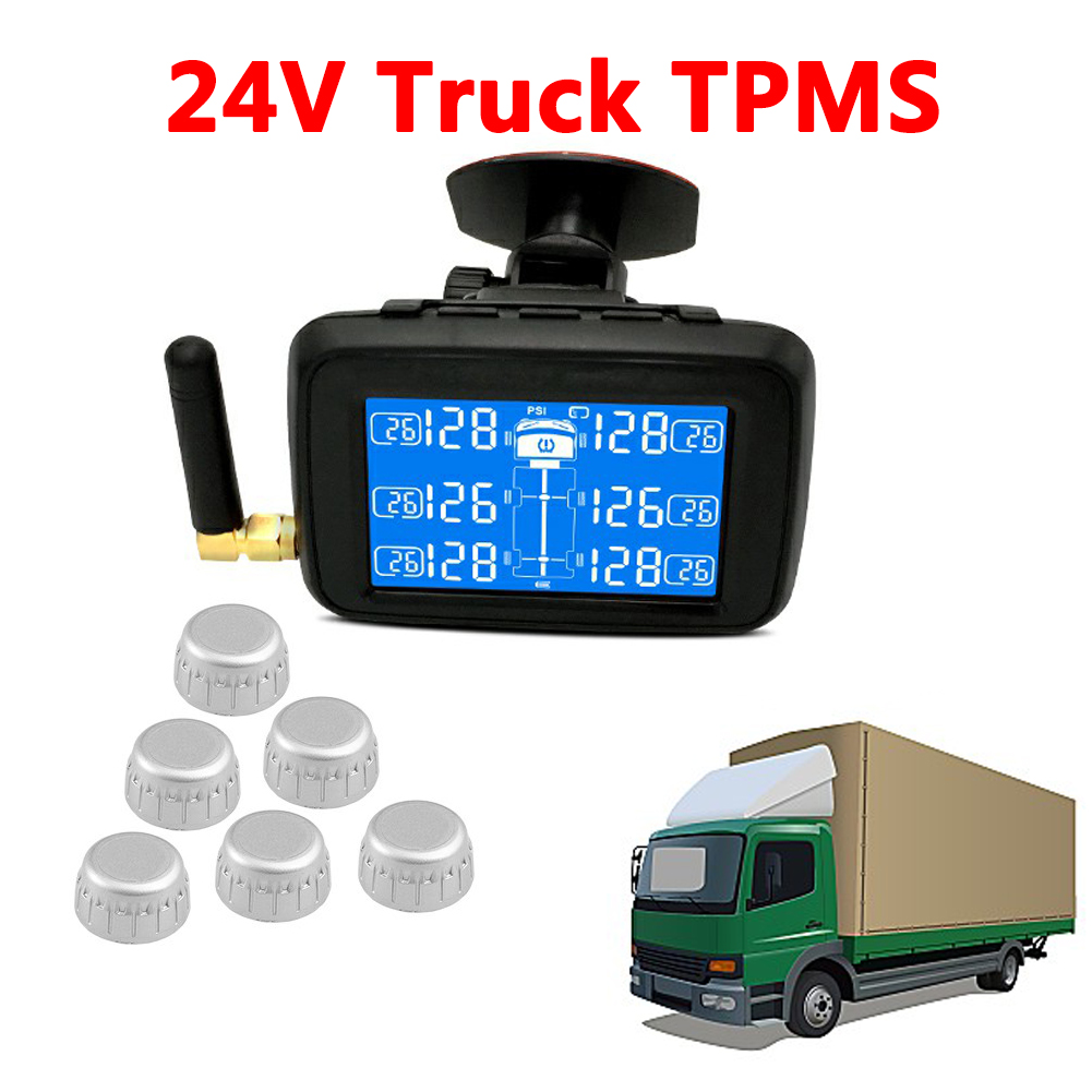 U901 24V Auto Truck TPMS Car Wireless Tire Pressure Monitoring System with 6 External Sensors Replaceable Battery LCD Display black