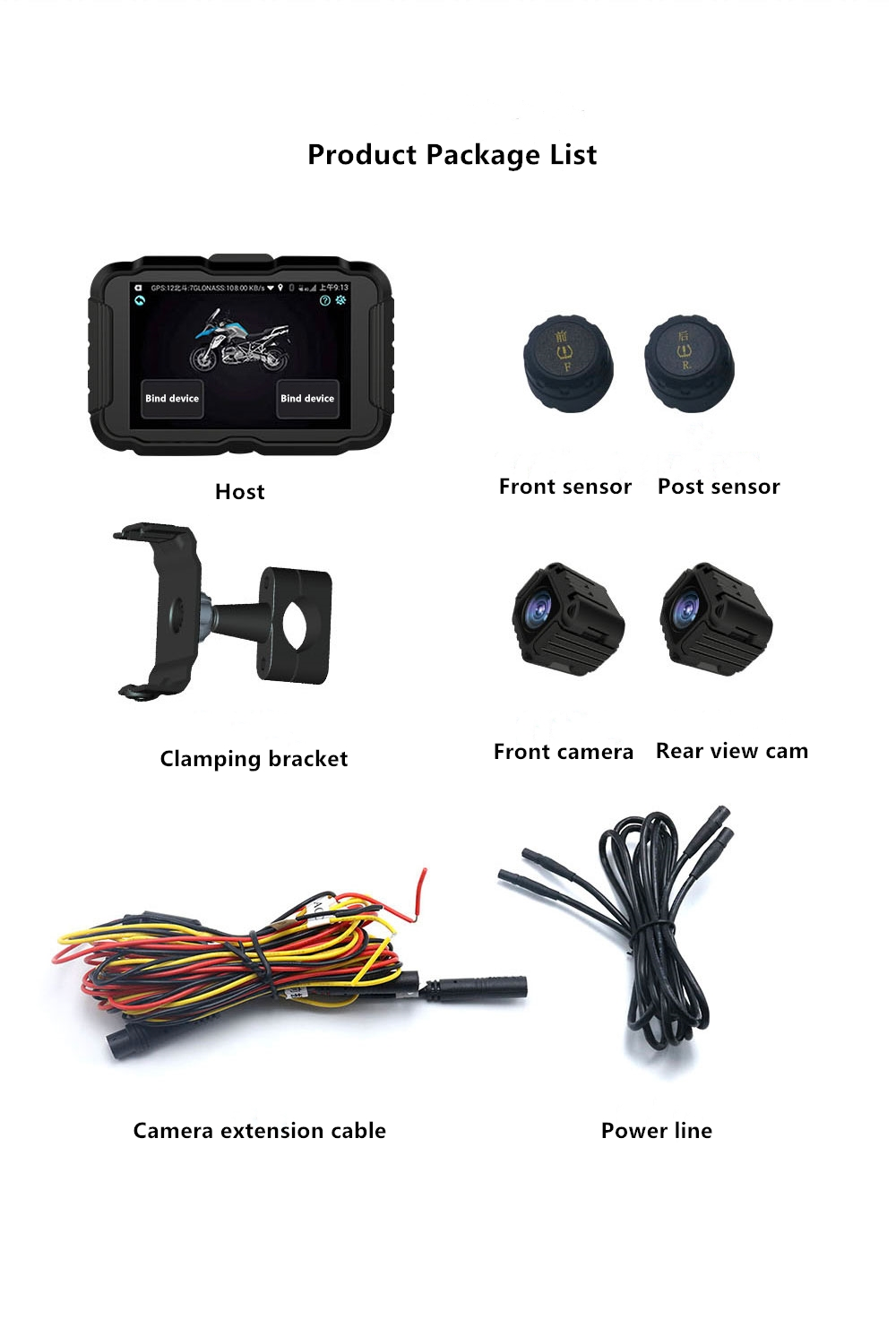 4G Version Motorcycle Car Driving Recorder with Positioner Wireless Tire Pressure Function Remote Snapshot black