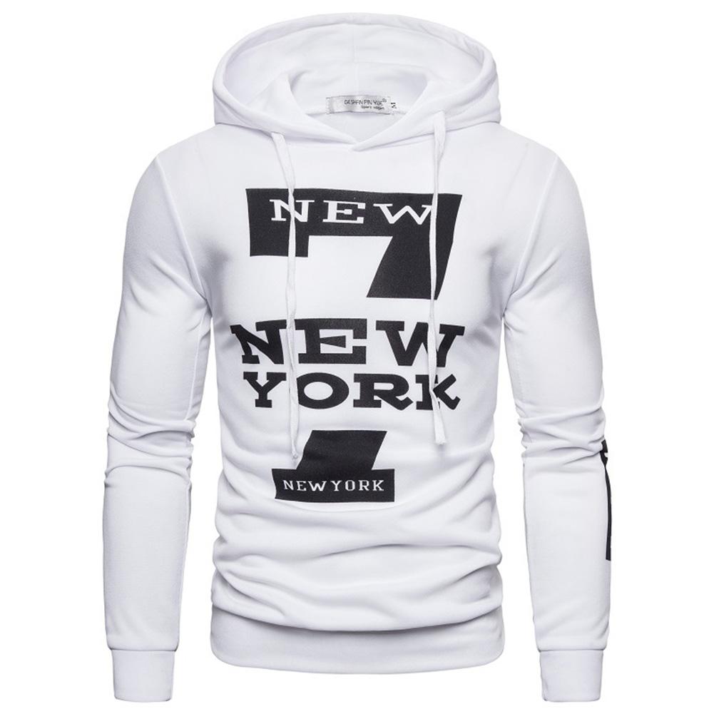 Men Hoodie Sweatshirt New York 7 Printing Drawstring Loose Male Casual Pullover Tops White_M