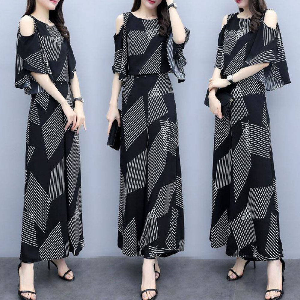 Women Fashion Summer Korean Loose Thin Off-shoulder Top + Wide Leg Pants Two Piece Suit Outfit Striped suit_L