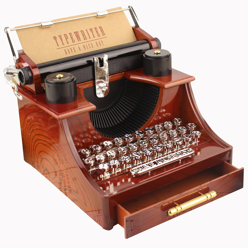 Retro Typewriter Shape Clockwork Spring Music Box Toy Desk Decor for Home Office Random music tracks
