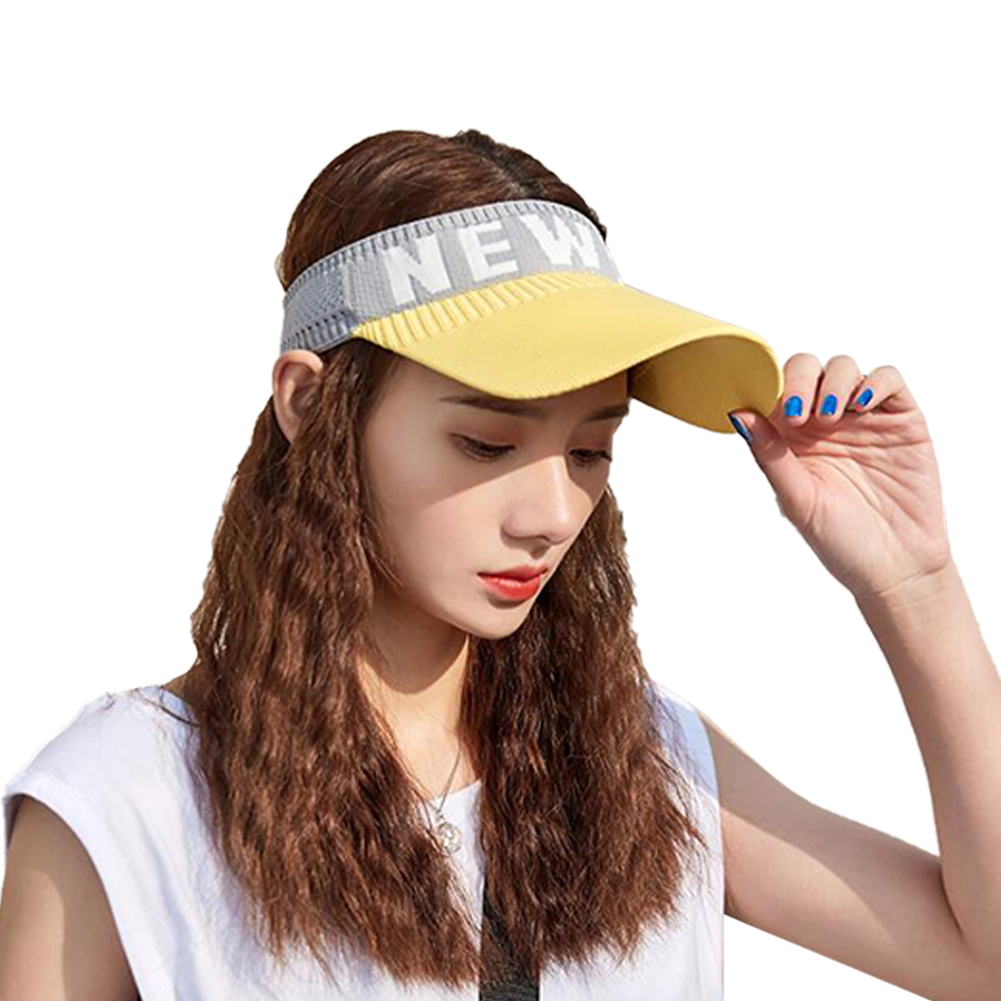Summer Sun Hat Visor Cap Outdoor Sports Sunscreen Top Hat yellow