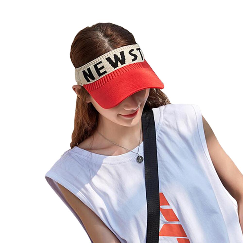Summer Sun Hat Visor Cap Outdoor Sports Sunscreen Top Hat red