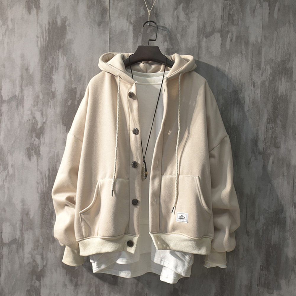 Man Fashion Autumn And Winter Warm Loose Hooded Sweater Coat Tops 563 apricot (winter plus velvet)_L