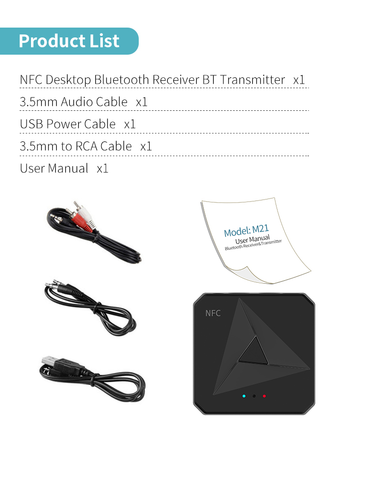 Abs Bluetooth 5.0  Adapters Receiving and Transmitting 2 in 1 Car 3.5AUX RCA Mobile Phone NFC Bluetooth Adapter  black