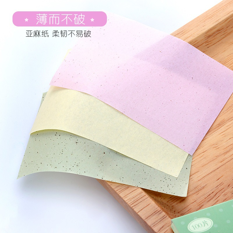 100 Pcs/box Face Oil Absorbing Paper Plant Fibres Breathable Linen Pulp Blotting Paper - Random Colors
