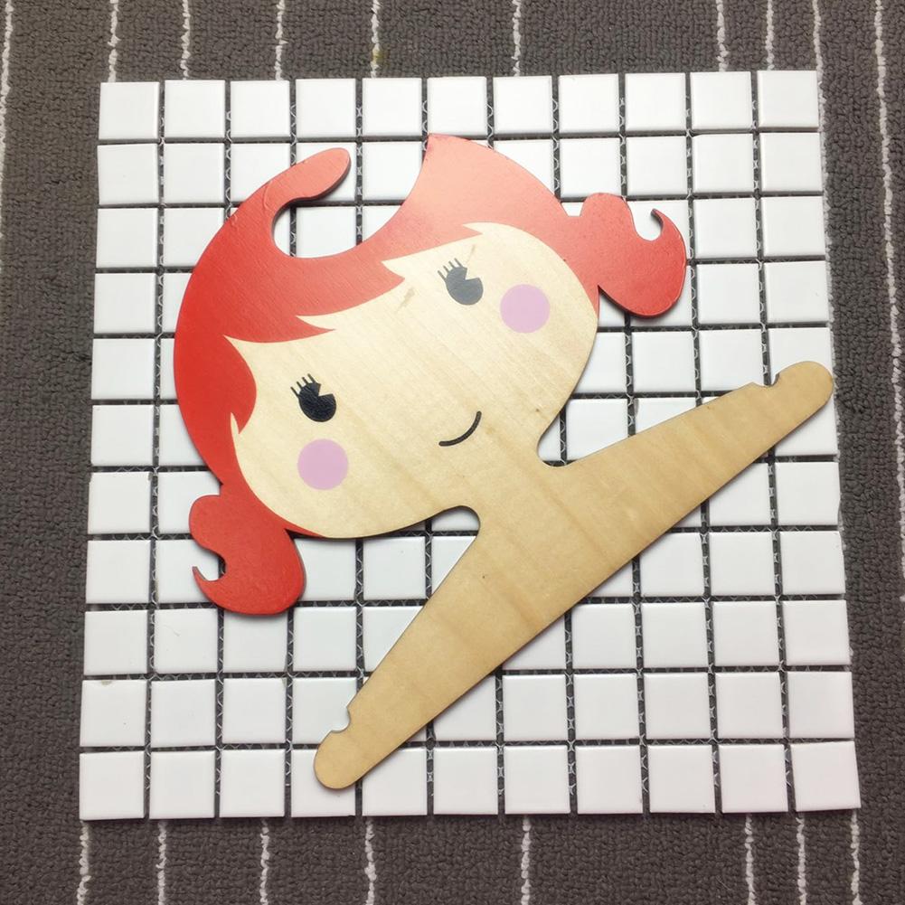 Wooden Cartoon Girl Shape Coat Hanger for Kids Room Storage Decoration Orange_25X21X0.45CM