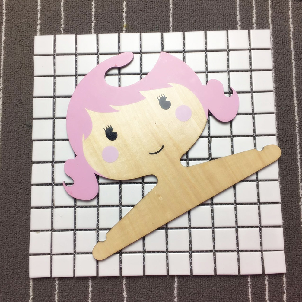 Wooden Cartoon Girl Shape Coat Hanger for Kids Room Storage Decoration Pink_25X21X0.45CM
