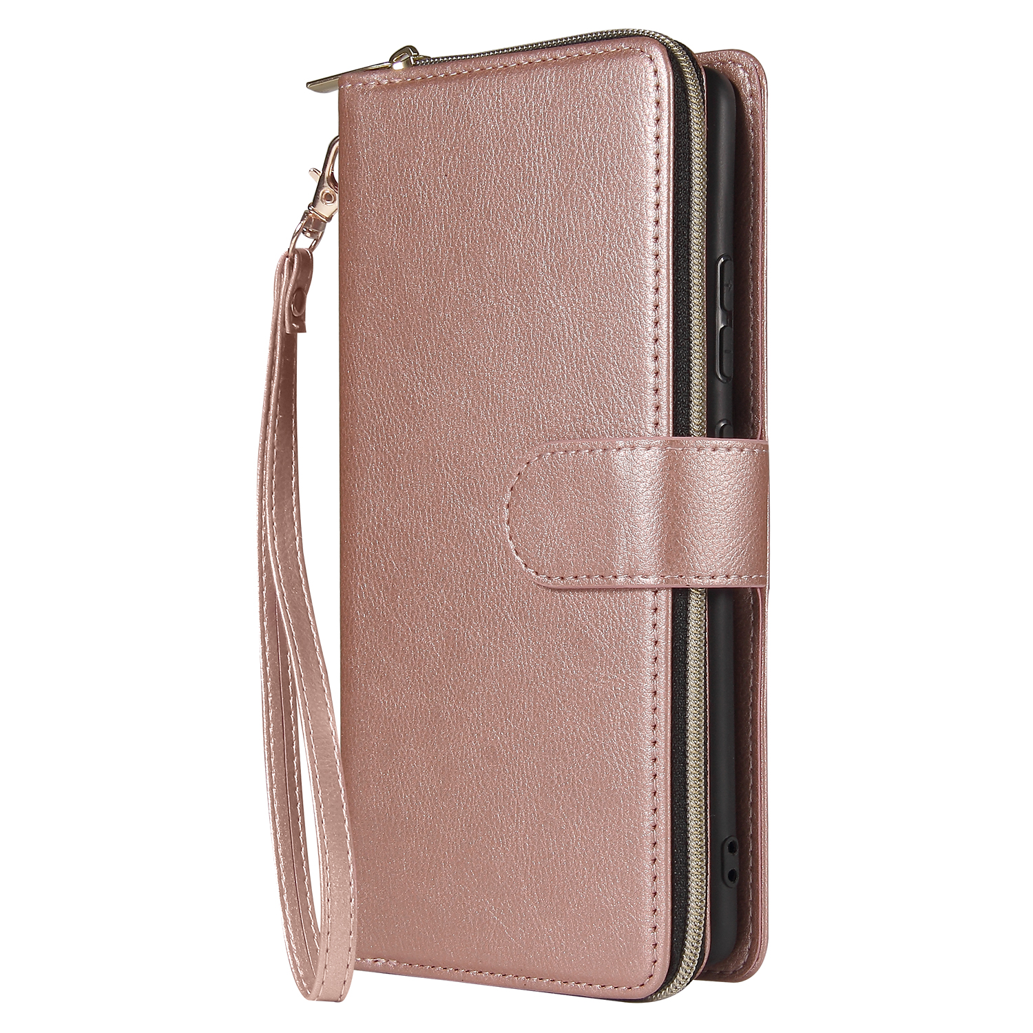 For Samsung A51 5G/A71 5G/Note 10 pro Pu Leather  Mobile Phone Cover Zipper Card Bag + Wrist Strap Rose gold