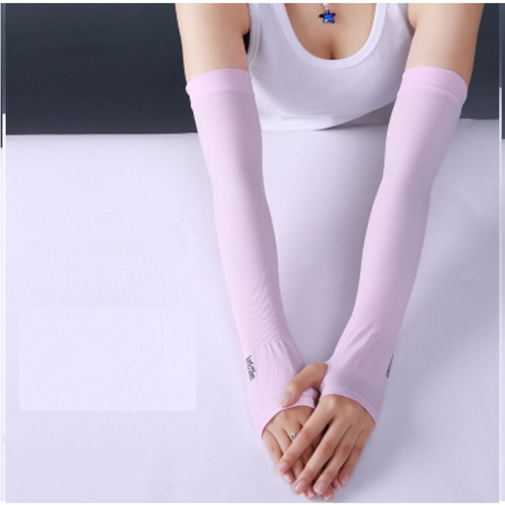 Ice Fabric Arm Sleeves Mangas Warmers Summer Sports UV Protection Running Cycling Driving Reflective Sunscreen Bands [Half fingers] pink