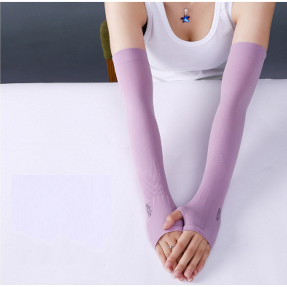 Ice Fabric Arm Sleeves Mangas Warmers Summer Sports UV Protection Running Cycling Driving Reflective Sunscreen Bands [Half fingers] purple