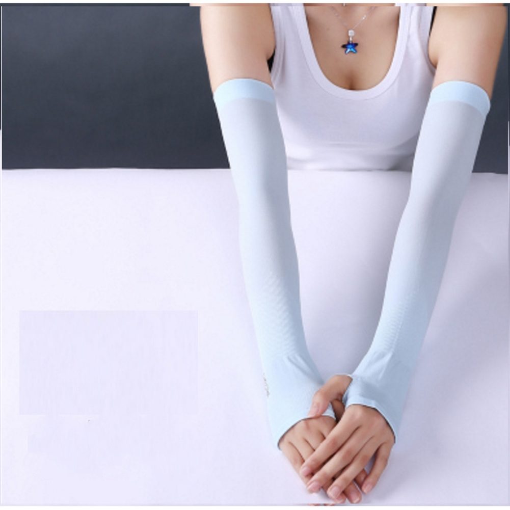 Ice Fabric Arm Sleeves Mangas Warmers Summer Sports UV Protection Running Cycling Driving Reflective Sunscreen Bands [Half fingers] blue
